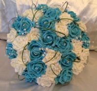 WEDDING FLOWERS ARTIFICIAL IVORY/TURQUOISE FOAM ROSE BRIDE WEDDING BOUQUET POSIE